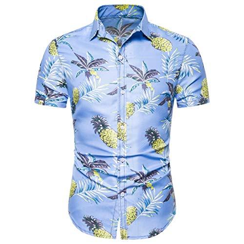 Shirt Short Sleeve Button Down Comfort Summer Basic T Shirt Blouse Fit Slim Printed Top Men (M,9- Blue)
