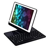 iPad Case with Keyboard for iPad 6th,5th Generation/Pro 9.7/Air2/Air,YOUNGFUN Bluetooth Wireless Keyboard Backlit Tablet Carrying Holder Auto Sleep/Wake Flip Rotate Slim Folio Smart Cover (Black)