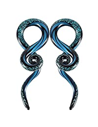 BodyJ4You 2PC Glass Ear Tapers Plugs 2G-16mm Dark Blue Sparkle Swirl Gauges Piercing Jewelry Set