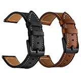 LDFAS Leather Band Compatible for Samsung Galaxy Watch 42mm Bands, Genuine Leather Quick Release 20mm Watch Strap Compatible for Samsung Galaxy Watch Active 40mm Smartwatch Brown+Black (2 Pack)
