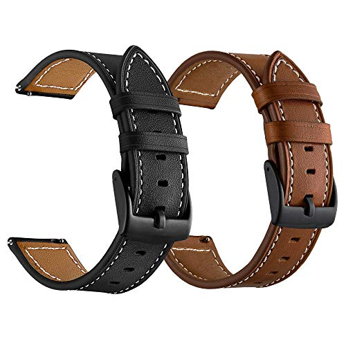 LDFAS Leather Band Compatible Samsung Galaxy Watch 42mm Bands, Genuine Leather Quick Release 20mm Watch Strap Compatible Garmin Vivoactive 3 Music Smartwatch Brown/Balck (2 Pack)