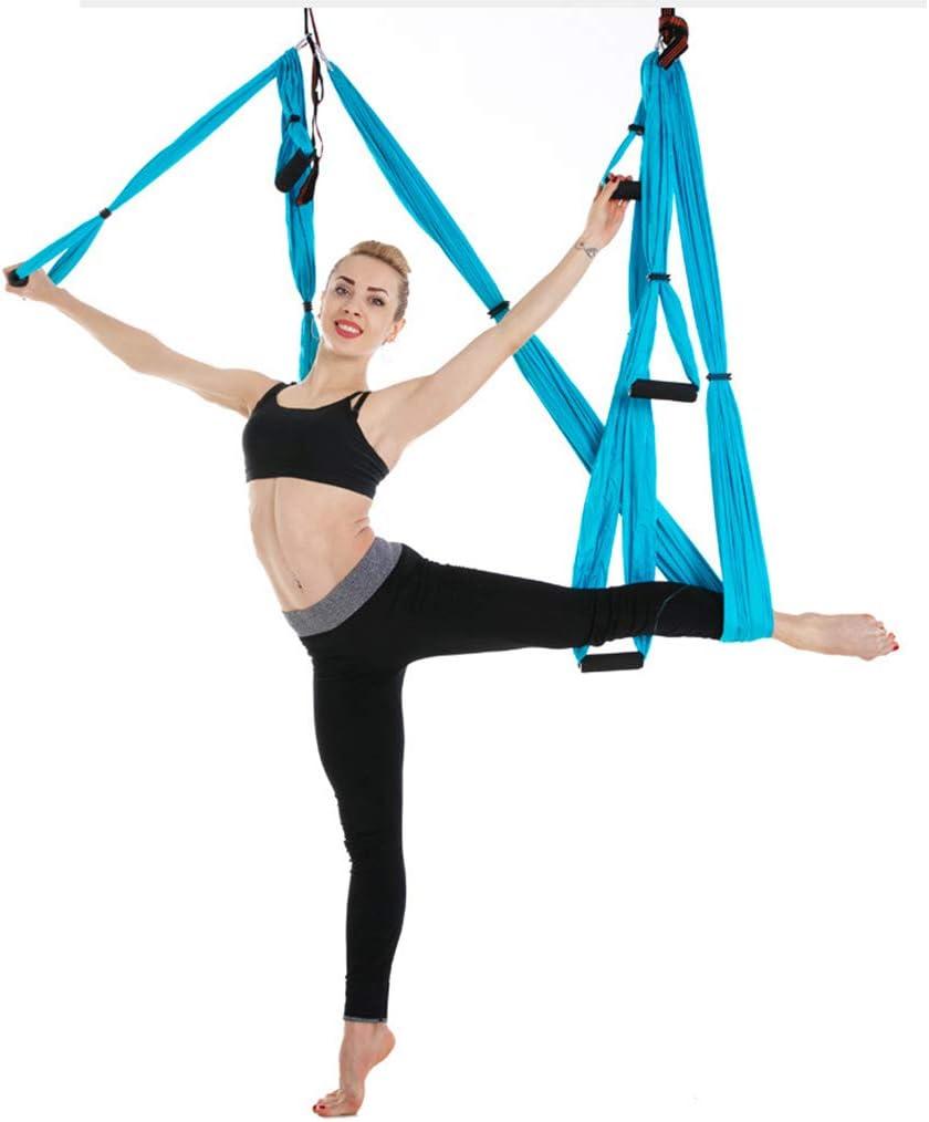 Longzhou Aerial Yoga Hammock,2.8x1m//9.2x3.3ft Durable Elastic Aerial Yoga Hammock Swing Fitness Training Accessory blue