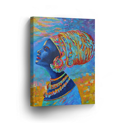 Blue Lady Painting - Harmony of Blue - African Woman Portrait Oil Painting CANVAS PRINT Decorative Art Wall Decor Artwork Wrapped Wood Stretcher Bars - Ready To Hang %100 Handmade in the USA - AfricanV23