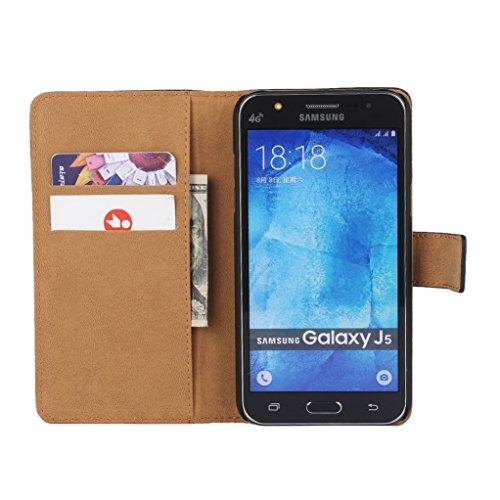 Trumpshop Smartphone Carcasa Funda Protección para Samsung Galaxy J5 SM-J500 [Rojo] Cuero Genuino Caja Protector con Función de Soporte Ranuras para Tarjetas Crédito Choque Absorción Amarillo