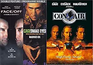 Action Man Nic Cage: Con Air + Face Off/ Snakes Eyes 3 DVD Bundle Triple Feature Film