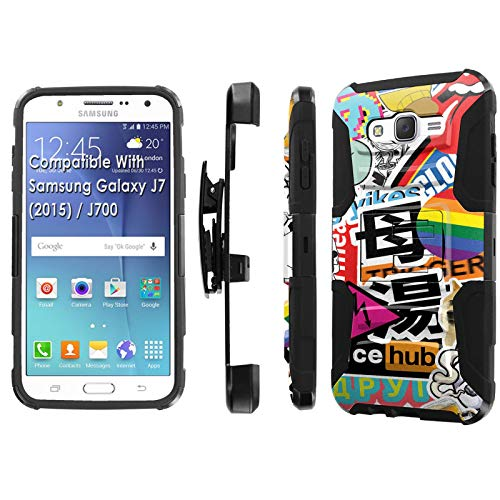 15 / J700H / J700T Phone Cover Case by [TalkingCase],Black/Black Premium Dual Layer Armor Case, w/Holster & Kickstand, J7 2015,J700T [Trendy Stickers Mosaic] Print, Design in USA ()