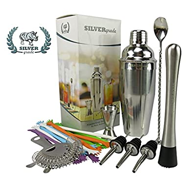 Premium Bar Set, Cocktail Shaker, Muddler, Strainer, Mixing Spoon, Double Jigger, Pourers and Over 50 Recipes (Pdf) - Martini Bar Set