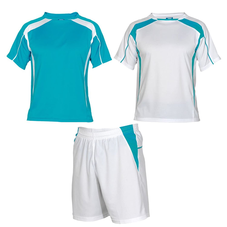 Soccer uniform set – 1つのペアショーツと2つのジャージ B015NBUCOOホワイト/ターコイズ L