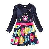 VIKITA Kid Girls Cotton Embroidery Rainbow Long Sleeve Flower Dress 1-8 Years LH5868 6T