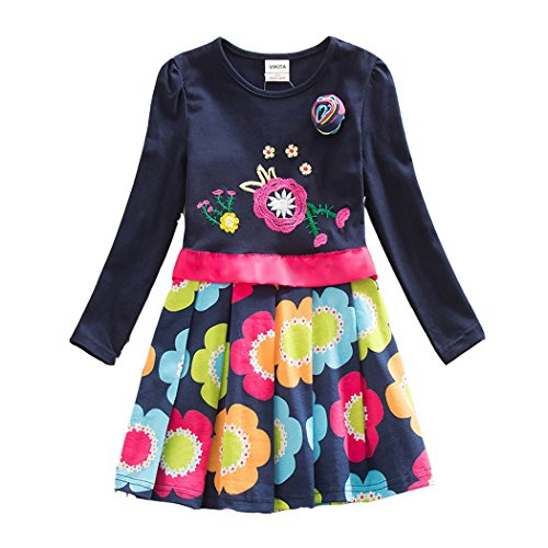 Price comparison product image VIKITA 2017 Kid Girl Embroidery Cotton Dress Long Sleeve LH5868NAVY 5-6 Years