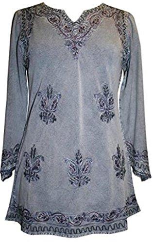 Agan Traders 127 B Medieval Vintage Top Blouse (Large, Lilac C)