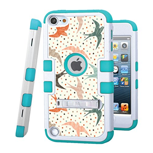 iPod touch 5 / 6 Case, CASECREATOR[TM] For Apple iPod touch 5th / 6th GEN () -- TUFF Hybrid Rubber Hard Snap-on Case White/Tropical Teal-Polka Dot Swallows ()