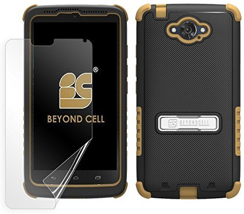 Beyond Cell Case for Motorola Droid Turbo XT1254 - Non-Retail Packaging - Black PC with Brown Silicone