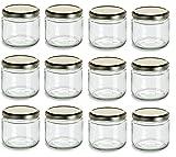 Nakpunar 12 oz Glass Salsa Jars with Gold Lid - Set of 12