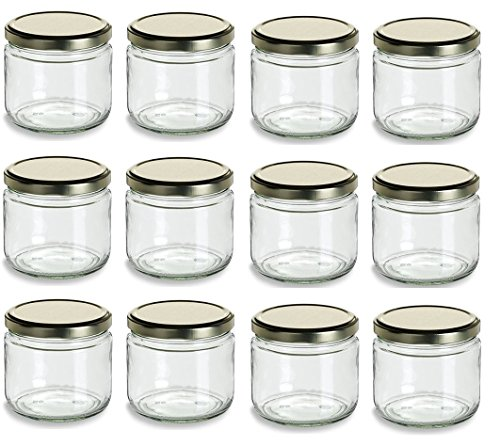Nakpunar 12 oz Glass Salsa Jars with Gold Lid - Set of 12 - Made in USA