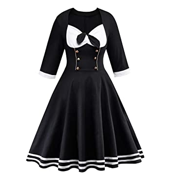 Btruely vestido de cóctel para mujer, estilo retro, manga larga ...