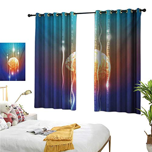 Thermal Insulated Drapes for Kitchen/Bedroom Stream of Binary Digits Leaking from Abstract Brain Mental Creativity Theme Print 63