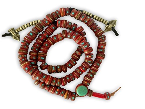 Hands Of Tibet Tibetan Embedded Yak Bone Mala 108 Beads with Brass Counters