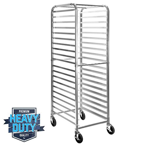 "26""x20""x69 20 Tier Pan Rack Commercial Kitchen Bun Sheets Bakery Pastry Shelves Rack Home Kitchen Restaurant Bar with Wheels New"