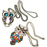 Amazing Value Jewelry Set of 2 Long Chain Vintage Bronze Owl Pendants Necklaces By VAGA®