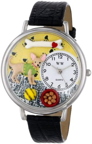 Whimsical Watches Unisex U0130023 Chihuahua Black Skin Leather Watch