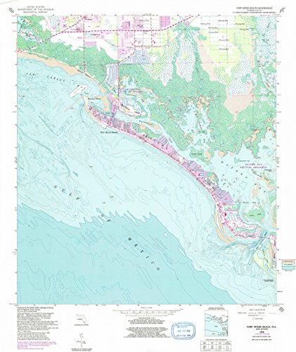 Historic Pictoric - Florida Maps - 1958 Fort Myers Beach, FL USGS - Topographic Wall Art : 24in x 30in (Fort Myers On A Map Of Florida)