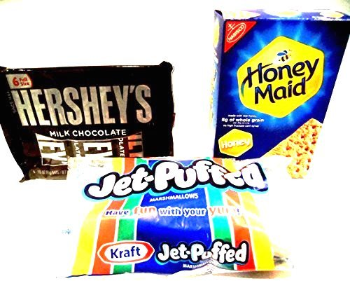 S'mores Kit, Everything You Need, 2 PACKAGES OF HERSHEY'S CHOCOLATE BARS (12 full size bars), 1 BAG OF KRAFT MARSHMALLOWS (10 oz bag), 1 BOX OF HONEY MAID GRAHAM CRACKERS (14 oz box).