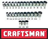 """Craftsman Easy Read 28 Piece SAE & Metric 1/2"""" Drive 12 Point Shallow Socket Set"""