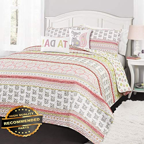 Werrox Fox Ruffle Stripe Quilt Set Twin or Queen Reversible Animal Pink/Grey Boho Size | Quilt Style QLTR-291268277