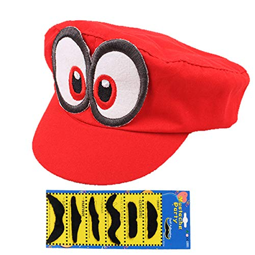 SKYC Super Mario Bros Hat Cosplay Kids Adult Halloween Costume Baseball Anime Unisex Role Play Hat Odyssey Red