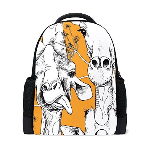 SAVSV Travel Backpack School Bag Giraffes Munching Grass for Students