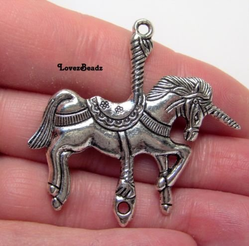 1 Beautiful Silver Tone Metal Unicorn Carousel Horse Pendant Connector-45x4 Jewelry Making Supply Charms Wholesale by Wholesale Charms