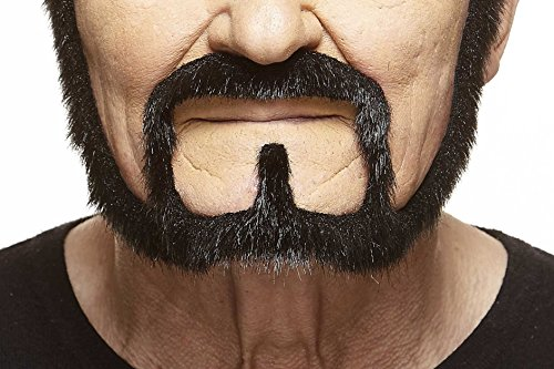 Halloween Makeup Facial Hair (Mustaches Self Adhesive, Novelty, Squatter Fake Beard, False Facial Hair, Costume Accessory for Adults, Black Lustrous)