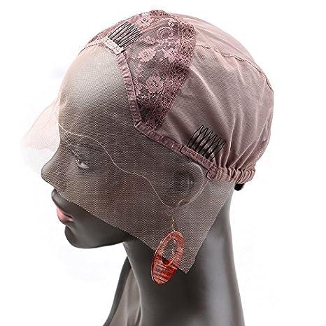 Bella Hair Casquillos Pelucas de Encaje Rosa para Pelucas Fabricación Marrón Claro Tamaño Pequeño - con