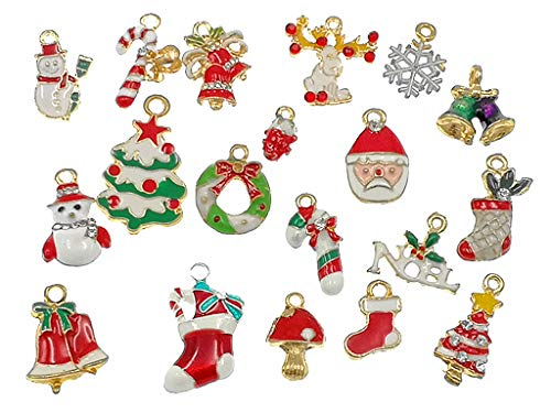 Kinteshun Christmas Charms Assorted Enamel Xmas Elements Pendant for Holiday DIY Jewelry Making(19pcs,Gold -