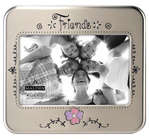 Malden International Designs Serendipity Friends Metal Shiny Pewter Picture Frame, 4x6, Silver