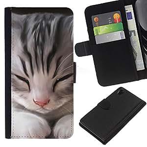 eJoy---La carpeta del tirón la caja de cuero de alta calidad de la PU Caso protector - Sony Xperia Z2 D6502 - --Kitten Maine Coon House Cat Sleepy