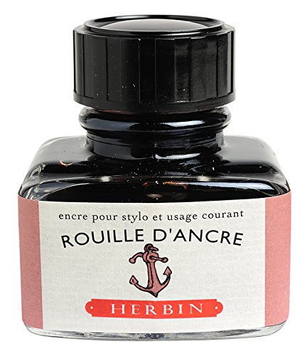 "J Herbin 30 ml""D"" Ink Bottle - Rusty Anchor"