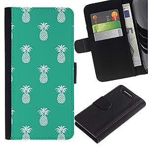 Sony Xperia Z1 Compact / Z1 Mini / D5503 Modelo colorido cuero carpeta tirón caso cubierta piel Holster Funda protección - Pineapple Pattern 420 Weed Green White