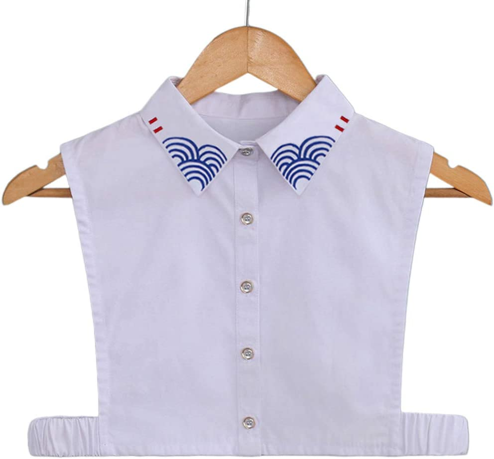 Viesky - Media camisa de mujer japonesa con cuello falso y rayas semicirculares bordadas: Amazon.es: Hogar