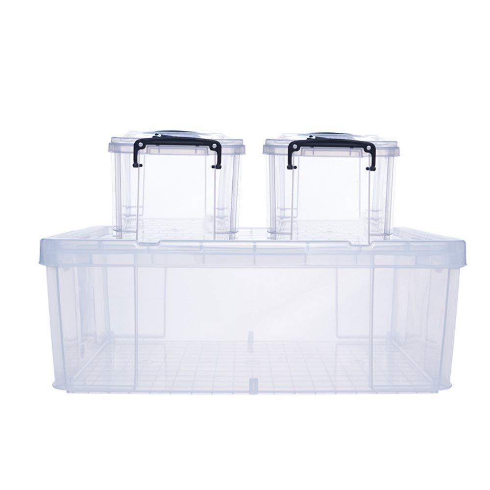 MYQ 収納ボックス ストレージボックス、3パックの家庭用ストレージボックスプラスチックの厚いストレージボックスの服のキルトのおもちゃのストレージボックス 化粧品収納ボックス B07QM7CG24