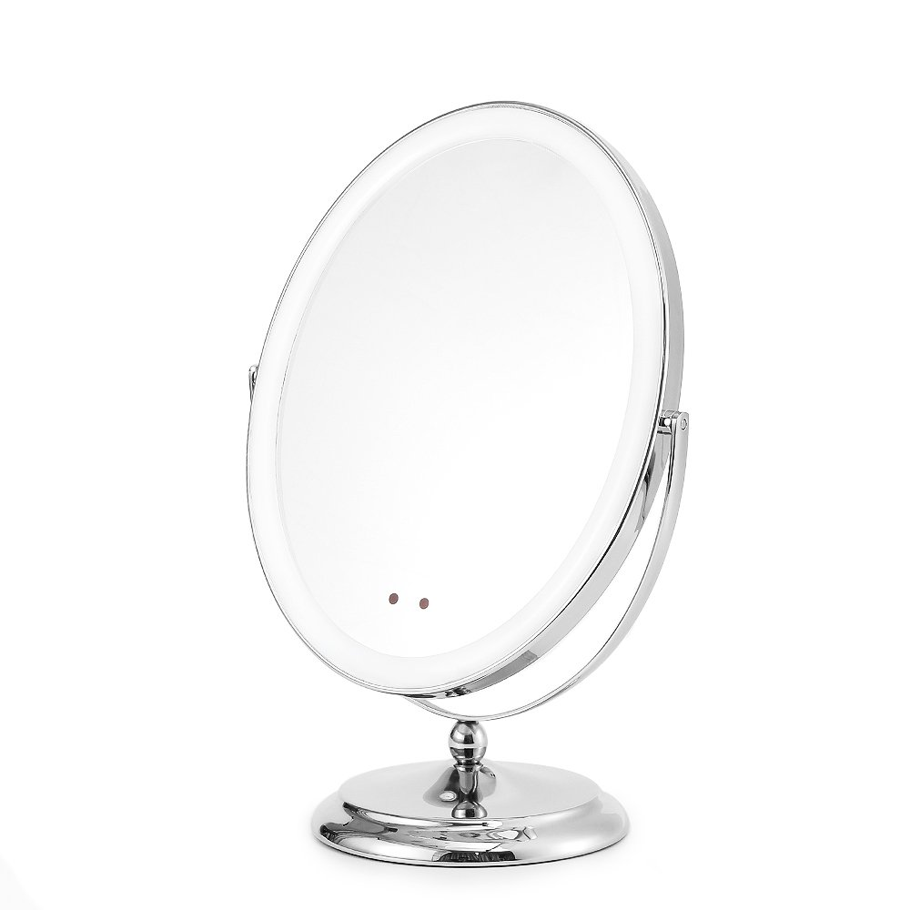 Soobuy Lighted Makeup Mirror with Motion Sensor On/Off, Rechargeable Double-Sided Vanity Mirror with Light; 1x/5x Magnification Cosmetic Mirror, Polished Chrome Finish, Cordless