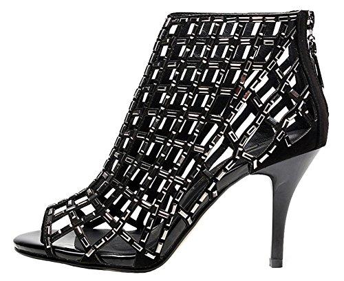 Bootie jiandick High Sandals Womens Stiletto Heeled Ankle Rhinestone Prom Evening Black Dress Heel silver RStxrSn