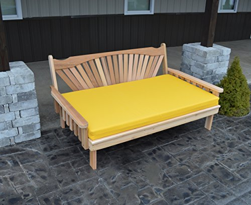 Cedar Fanback Style Day Bed - Classic 6 Foot Daybed for Indoor or Outdoor - Gorgeous Designer Patio Furniture That Your Family Will Love - USA Amish Made (Stained with Bed Cushion) (Outdoor Restoration Chaise Hardware)