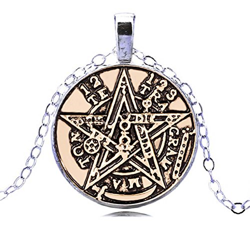 Gemingo All New Gothic Jewelry Necklace Tetragrammaton Pendant Glass Dome Pentacle Pagan Jewelry For Men (Best Konov Jewelry Friends Necklace For Boys)