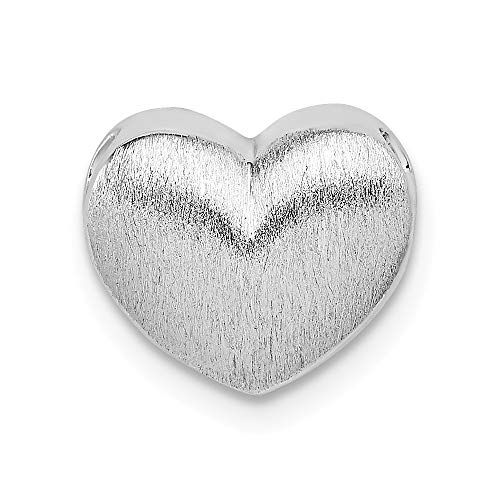 (925 Sterling Silver Scratch Finish Heart Necklace Chain Slide Pendant Charm Love Puffed Fine Jewelry Gifts For Women For Her)