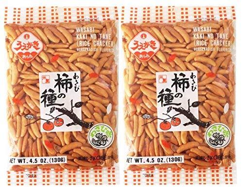 Japanese Traditional Rice Crackers : Nori Maki Arare/ Kaki No Tane 2packs (Kaki No Tane Wasabi)-set of 4