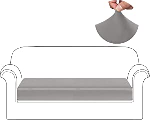 HDCAXKJ Waterproof Leather Couch Cushion Covers Stretch Sofa Seat Cover for Loveseat Sectional Sofa Slipcovers Anti Slip Pet Dog Furniture Protector with Elastic Bottom and Straps (Gray, Large)