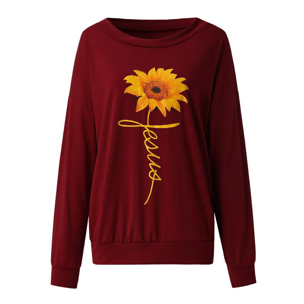 Blouses Women TUDUZ Ladies Spring Autumn Sunflower Print Long Sleeve Tops One Off Shoulder Casual Pullover Sweatshirt T Shirts
