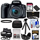 Canon PowerShot SX70 HS 4K Wi-Fi Digital Camera with 32GB Card + Battery + Case + Tripod + 3 Filters + Hood + Tele/Wide Lens Kit